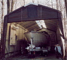 Round Style Boat Garage u0026 House Style Boat Garage & Boat Storage Shelters ™ Dock Covers Boat Launches Tarps Canvas ...